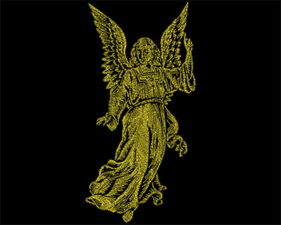Embroidery Design: Golden Angel 1 Large 4.44w X 8.94h
