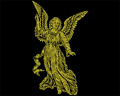 Embroidery Design: Golden Angel 2 Small 4.06w X 6.88h