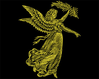 Embroidery Design: Golden Angel 3 Small 5.50w X 6.88h