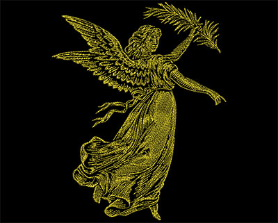 Embroidery Design: Golden Angel 3 Large 7.13w X 8.94h