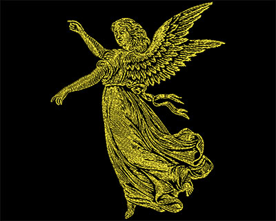 Embroidery Design: Golden Angel 4 Small 5.50w X 6.81h
