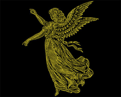 Embroidery Design: Golden Angel 4 Large 7.13w X 8.88h