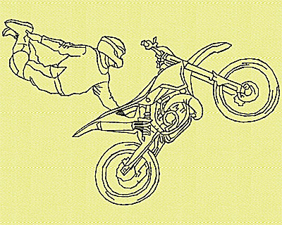 Embroidery Design: Motor Bike 1 4.94w X 3.31h