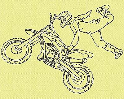 Embroidery Design: Motor Bike 6 4.94w X 3.56h