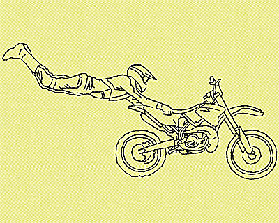 Embroidery Design: Motor Bike 8 4.94w X 2.44h