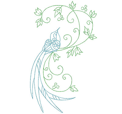 Embroidery Design: Delicate Bird With Vine Large 4.12w X 6.94h