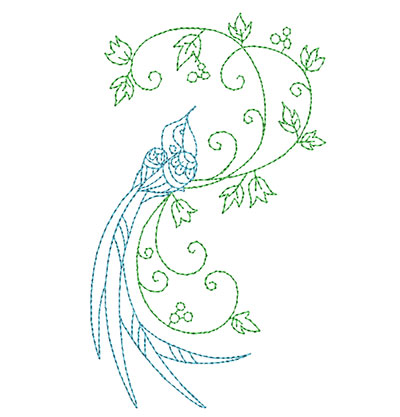 Embroidery Design: Delicate Bird With Vine Small 2.97w X 5.00h