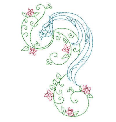 Embroidery Design: Delicate Bird With Flowers Small 3.18w X 5.00h