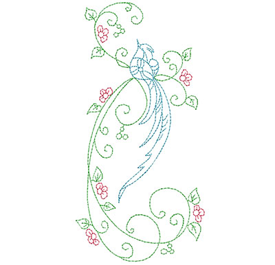 Embroidery Design: Delicate Bird Floral Large 3.44w X 6.94h