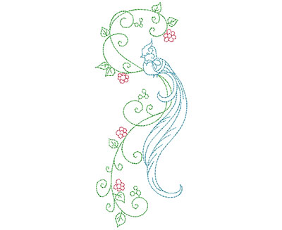 Embroidery Design: Delicate Bird Floral 5 Large 2.82w X 6.96h