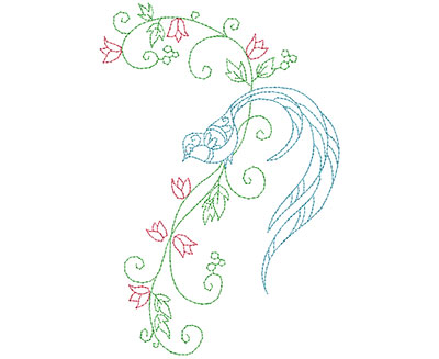 Embroidery Design: Delicate Bird Floral 6 Large 4.72w X 6.95h