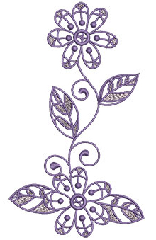 Embroidery Design: Lilac Flowers 1 3.77w X 6.52h