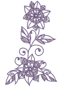 Embroidery Design: Lilac Flowers 23.95w X 6.52h