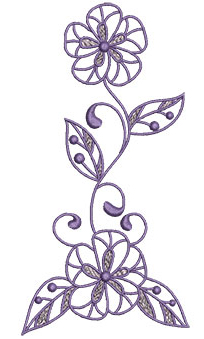 Embroidery Design: Lilac Flowers 3 3.30w X 6.52h