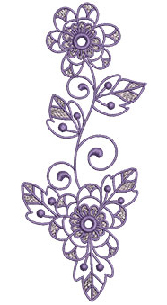 Embroidery Design: Lilac Flowers 4 2.73w X 6.52h