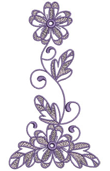 Embroidery Design: Lilac Flowers 5 3.55w X 6.52h
