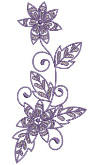 Embroidery Design: Lilac Flowers 6 3.03w X 6.52h