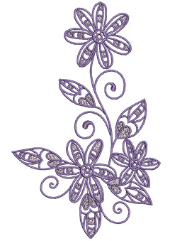Embroidery Design: Lilac Flowers 7 4.11w X 6.52h