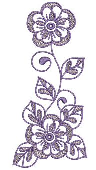 Embroidery Design: Lilac Flowers 8 2.91w X 6.53h