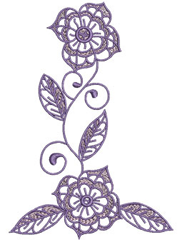 Embroidery Design: Lilac Flowers 9 4.52w X 6.56h