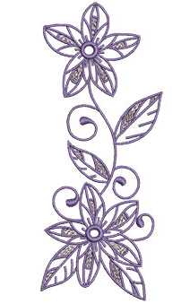 Embroidery Design: Lilac Flowers 10 2.67w X 6.53h