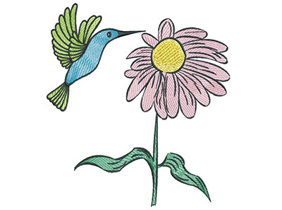 Embroidery Design: Hummingbird with Flower 6.42w X 7.09h