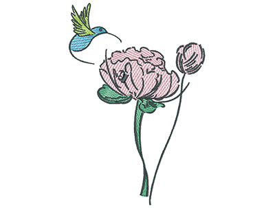 Embroidery Design: Hummingbird And Wild Flower 4.79w X 7.12h
