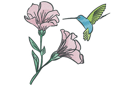 Embroidery Design: Hummingbird with Blooming Flowers 7.30w X 7.09h