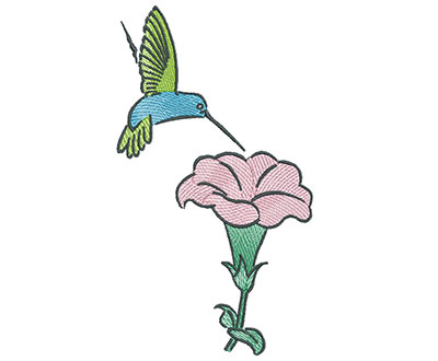 Embroidery Design: Hummingbird with Blooming Flower 3.99w X 7.15h