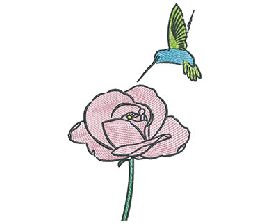Embroidery Design: Hummingbird With Rose 4.37w X 7.10