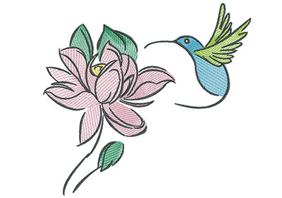 Embroidery Design: Hummingbird And Flower 7.14w X 6.64h
