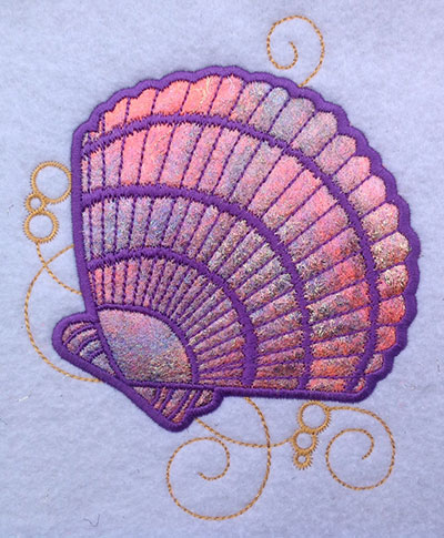 Embroidery Design: Shell Applique 2 Small 5.20w X 4.15h