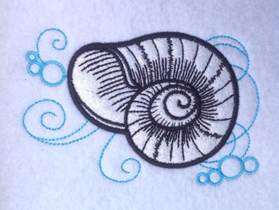 Embroidery Design: Shell Applique 3 Small 4.99w X 3.36h