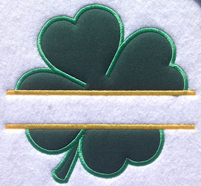 Embroidery Design: Split Applique Four Leaf Clover Small 6.31w X 6.02h