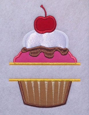 Embroidery Design: Split Applique Cupcake Large 5.18w X 7.47h