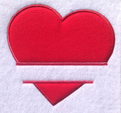 Embroidery Design: Split Applique Heart Large 7.71w X 7.31h