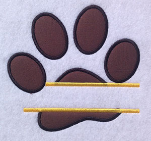 Embroidery Design: Split Applique Paw Small 6.00w X 5.70h