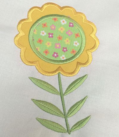Embroidery Design: Spring Flower Applique 4.10w X 6.02h