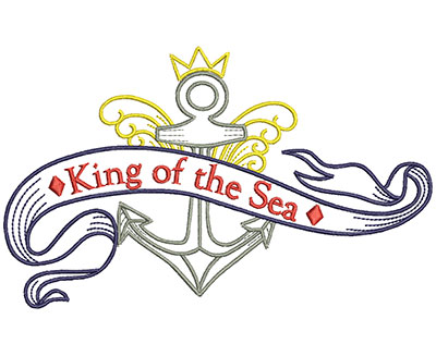 Embroidery Design: King Of The Sea 6.56w X 4.02h