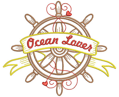Embroidery Design: Ocean Lover 5.95w X 5.02h