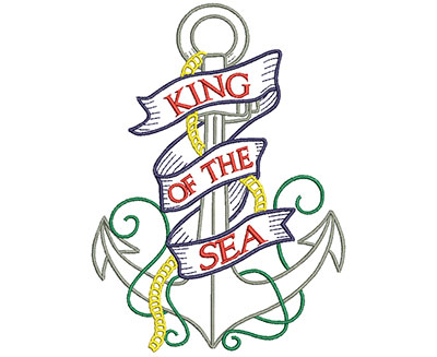Embroidery Design: King Of The Sea Anchor 4.77w X 6.59h