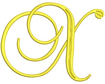 Embroidery Design: Script Initial X 7.06w X 5.44h