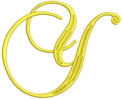 Embroidery Design: Script Initial Y 7.06w X 5.75h