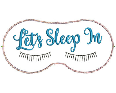 Embroidery Design: Let's Sleep In 7.07w X 3.39h