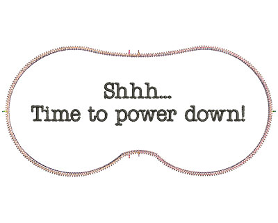 Embroidery Design: Time To Power Down 7.07w X 3.39h