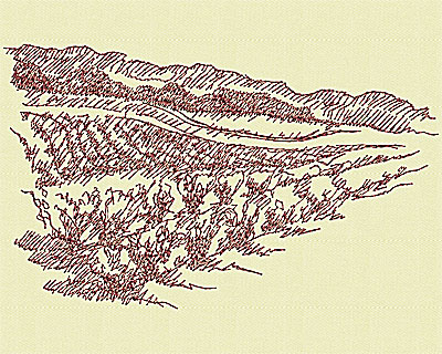 Embroidery Design: Winery scene small 3.88w X 6.38h
