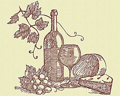 Embroidery Design: Wine set large 7.69w X 8.63h