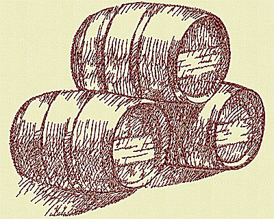 Embroidery Design: Wine barrels small 4.56w X 5.44h