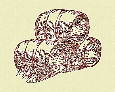 Embroidery Design: Wine barrels medium 6.31w X 7.50h