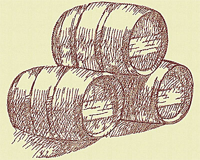 Embroidery Design: Wine barrels large 7.69w X 9.13h